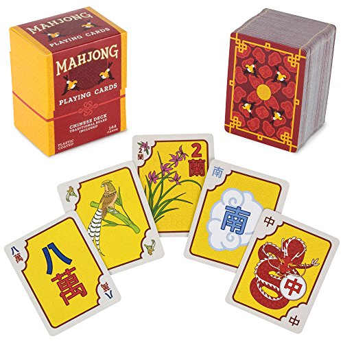 Chinese Mahjong Playing Cards - 144-Card Deck for Traditional Game Play, Includes Rules and Storage Box by Brybelly (Chinese Playing Cards Deck)