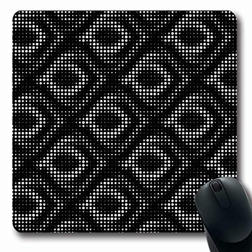 Ahawoso Mousepads Artistic Abstract Grid Polka Dot Halftone Rough Ancient Beading Border Brush Bubbles Design Oblong Shape 7.9 x 9.5 Inches Non-Slip Gaming Mouse Pad Rubber Oblong Mat
