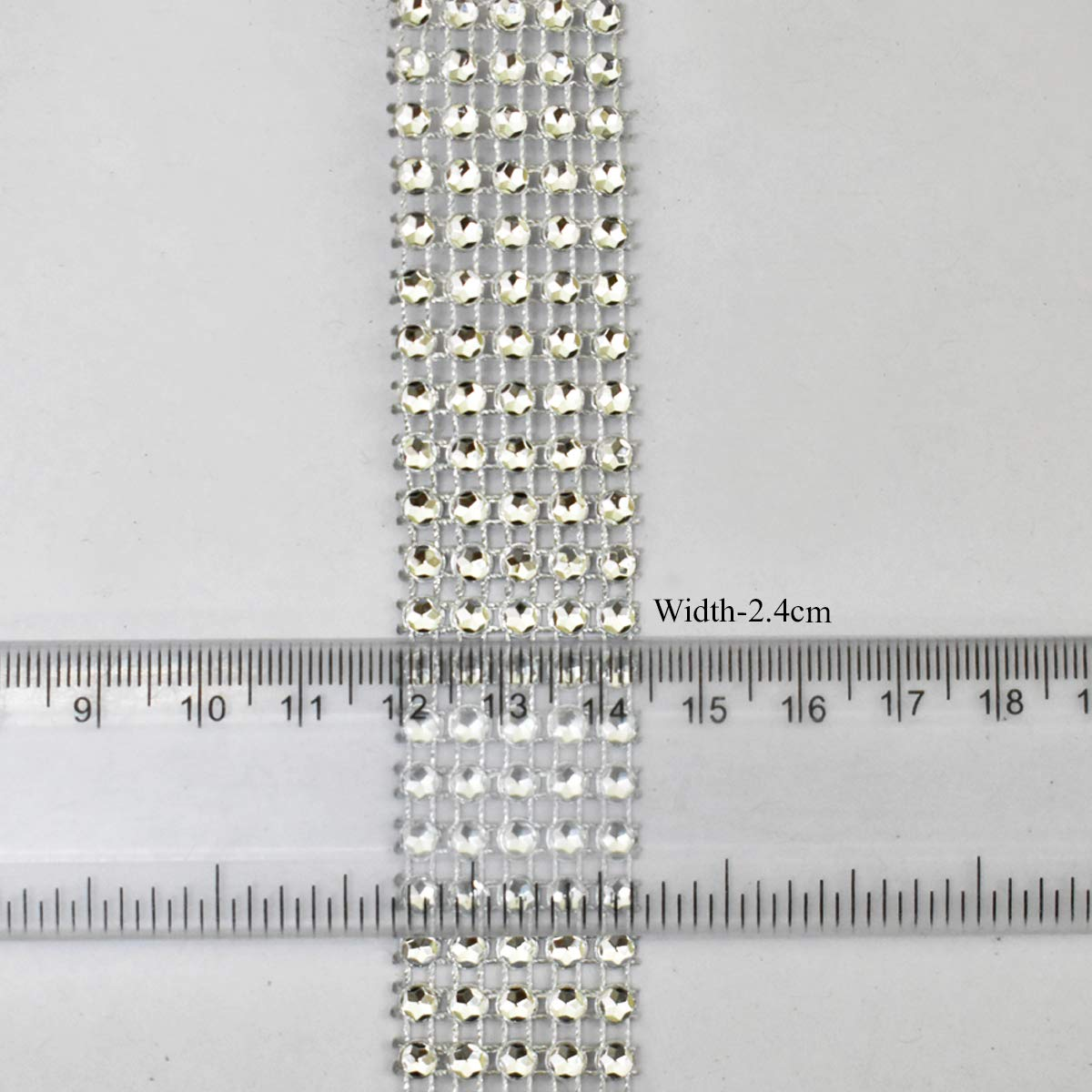 Silver Color, 9 Meter Decoration and Craft Making Rhinestones Ribbon Trim Laces for Embroidery