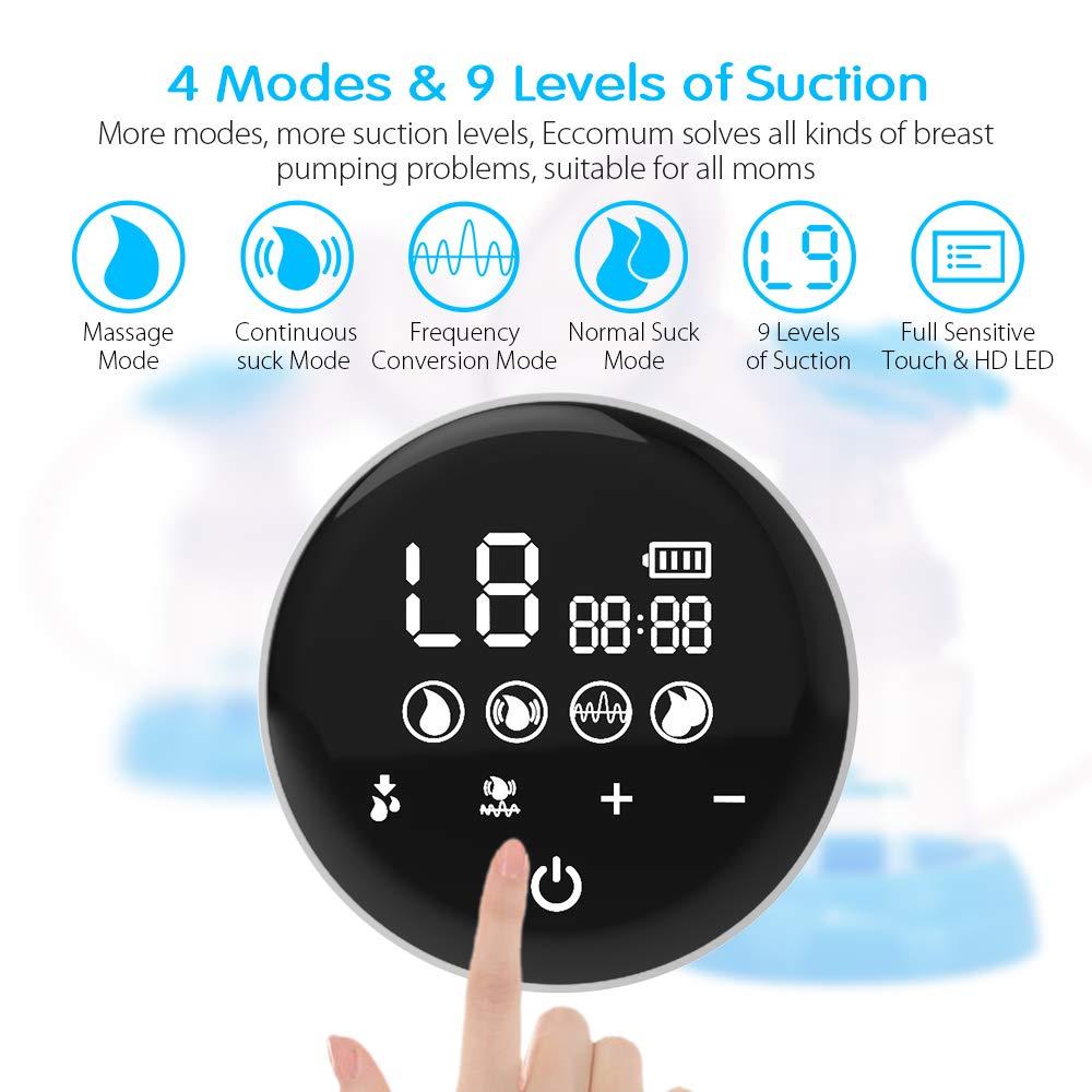 wiederaufladbar Eccomum Brustpumpe Doppel Stillpumpe mit 4 Modi und 9 Stufen starke Saugkraft Speicher-Funktion schmerzfrei BPA-frei Elektrische Milchpumpe Voll-Touchscreen-LED-Anzeige