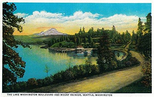 (Lake Washington Boulevard and Mt. Rainier 1026 (24x36 SIGNED Print Master Art Print - Wall Decor Poster))