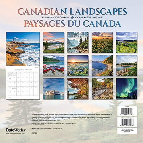 2019 Canadian Landscapes/Paysages du Canada Wall Calendar (English and French Edition)