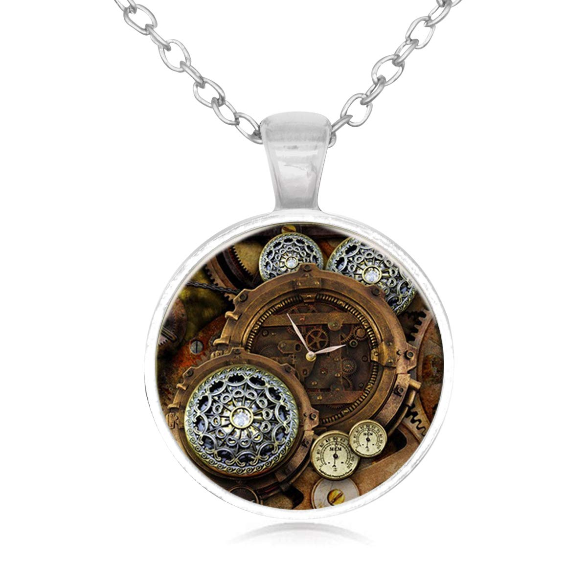 Lightrain Steampunk Gears Clock Pendant Necklace Vintage Bronze Chain Statement Necklace Handmade Jewelry Gifts