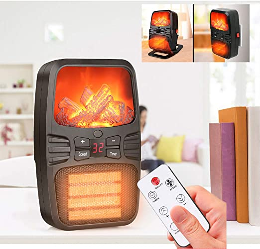 Wall Mount Heater Indoor Space Infrared 1000W Electric Unit Remote Control White
