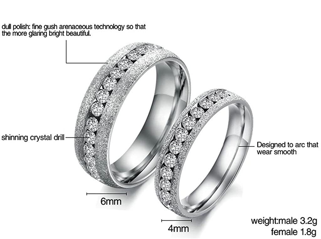 Bishilin His /& Her 2 Pcs Stainless Steel Dull Polish Channel Set Couples Wedding Promise Band Valentines Day Gifts Women Size 8 /& Men Size 8