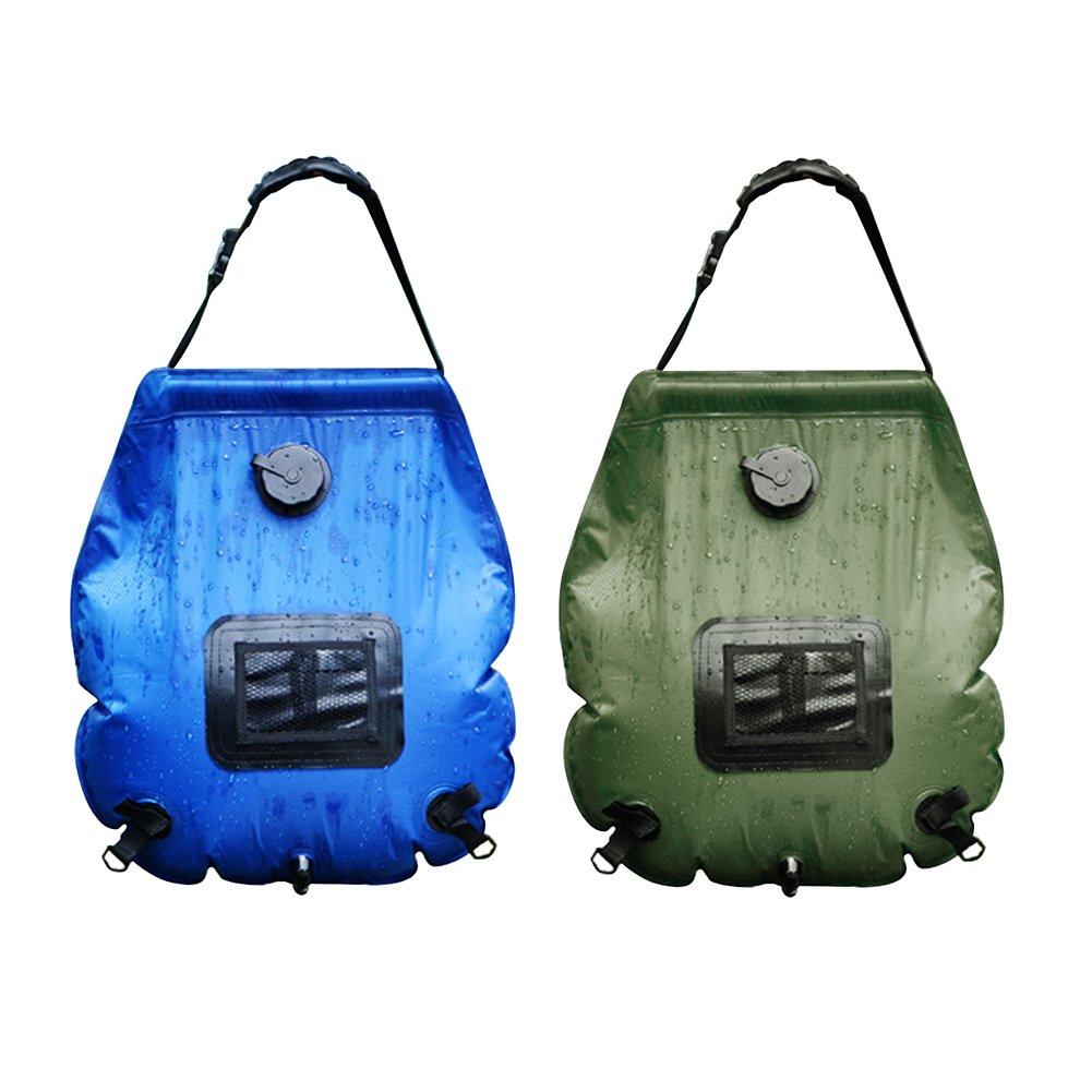 su-luoyu Campamento ducha bolsa de tubo Energía solar climatizada ducha portátil bolsa de agua de PVC con on/off boquilla para al aire libre Camping Senderismo Viajes 20 litros (2 Color)