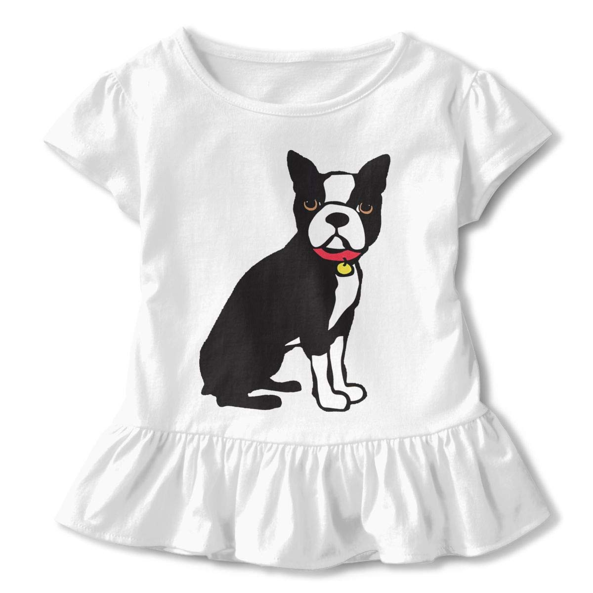 CZnuen Boston Terrier My Best Friend Baby Girls Round Neck Short Sleeve Ruffle T-Shirt Top
