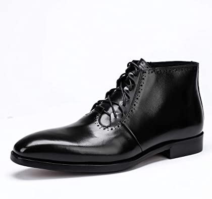 Mens Handmade Boots Ankle High Black Genuine Leather Formal Dress Casual Shoes
