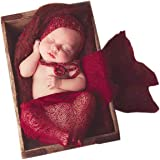 Sunmig Newborn Baby Stretch Wrap Photo Props Wrap-Baby Photography Props (Wine)