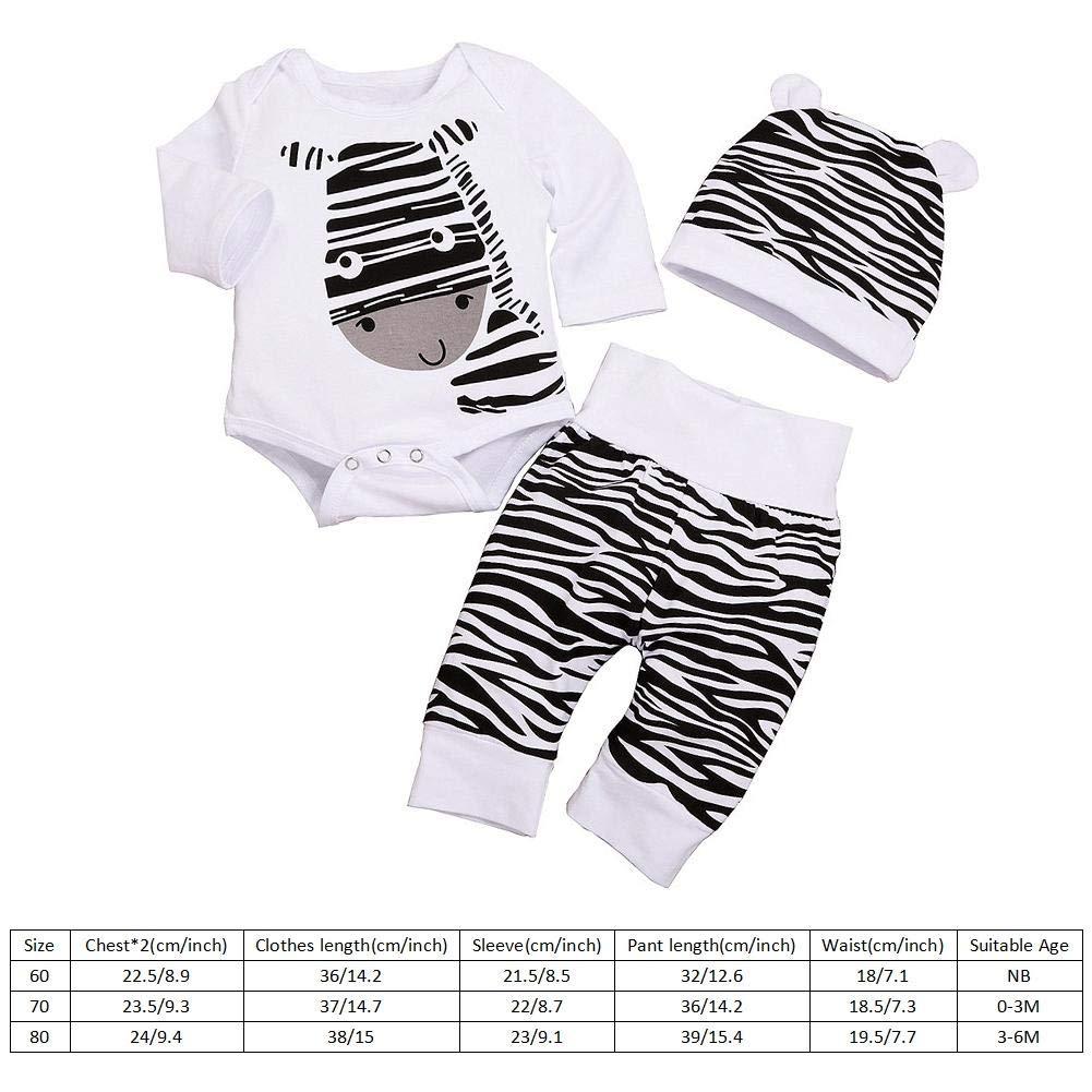 60 3 St/ücke Jungen All-in-One Anzug Zebra Streifen Body Kleidung Set Cartoon Muster Strampler