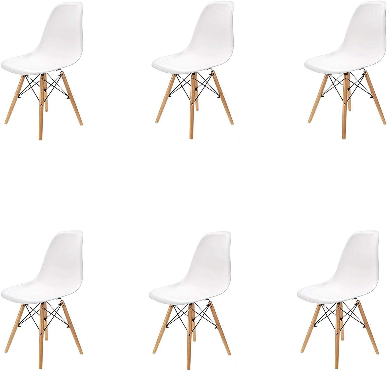 Pack 4/6 sillas, sillas de Comedor Silla de Oficina Silla de salón, Silla diseño nórdico Estilo (White(Blanco-6))