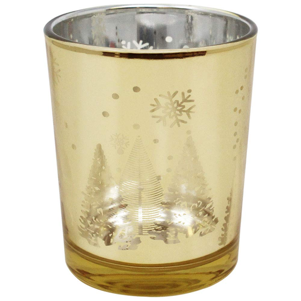 Just Artifacts Christmas Metallic Votive Candle Holder 2.75'' H - Gold Winter Wonderland (Set of 25) - Glass Votive Candle Holders for Weddings and Home Décor