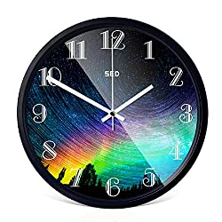 12-Inch Non-Ticking Silent Wall Clock With Modern and Nice Design For Living Room Large Kitchen, Metal Frame Round Wall Clock Battery Operated (Colorful Sky, Black)