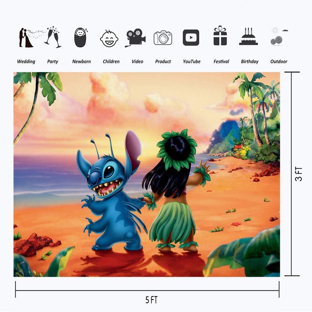 Cartoon Lilo and Stitch Background Photography 7x5 Tropical Jungle Leaf Hawaiian Birthday Vinyl Backdrops for Kids Dessert Tabletop Summer Aloha Luau Party Backdrop