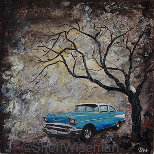 1950's Chevy Bel Air, artist signed PRINT, 1957 Chevrolet Bel Air, classic car, blue, fathers day, gift, christmas, present, men, man - 1957 Poster Print