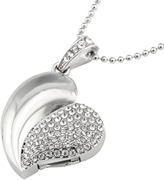 Crystal Heart Shape Jewelry 64GB USB 2.0 Flash Drive Bling Shiny Diamond Pendant Necklace Thumb Drive Memory Stick Pendrive Silver