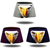 Men's Seamless Boxer Brief Stretchable Underwear 3D Printing 3-pcs Set, Sexy Hipster Wolf Animals