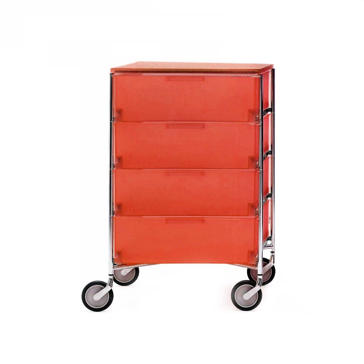 Kartell 2024L4 Container Mobil, 4 Schubladen, dunkelorange