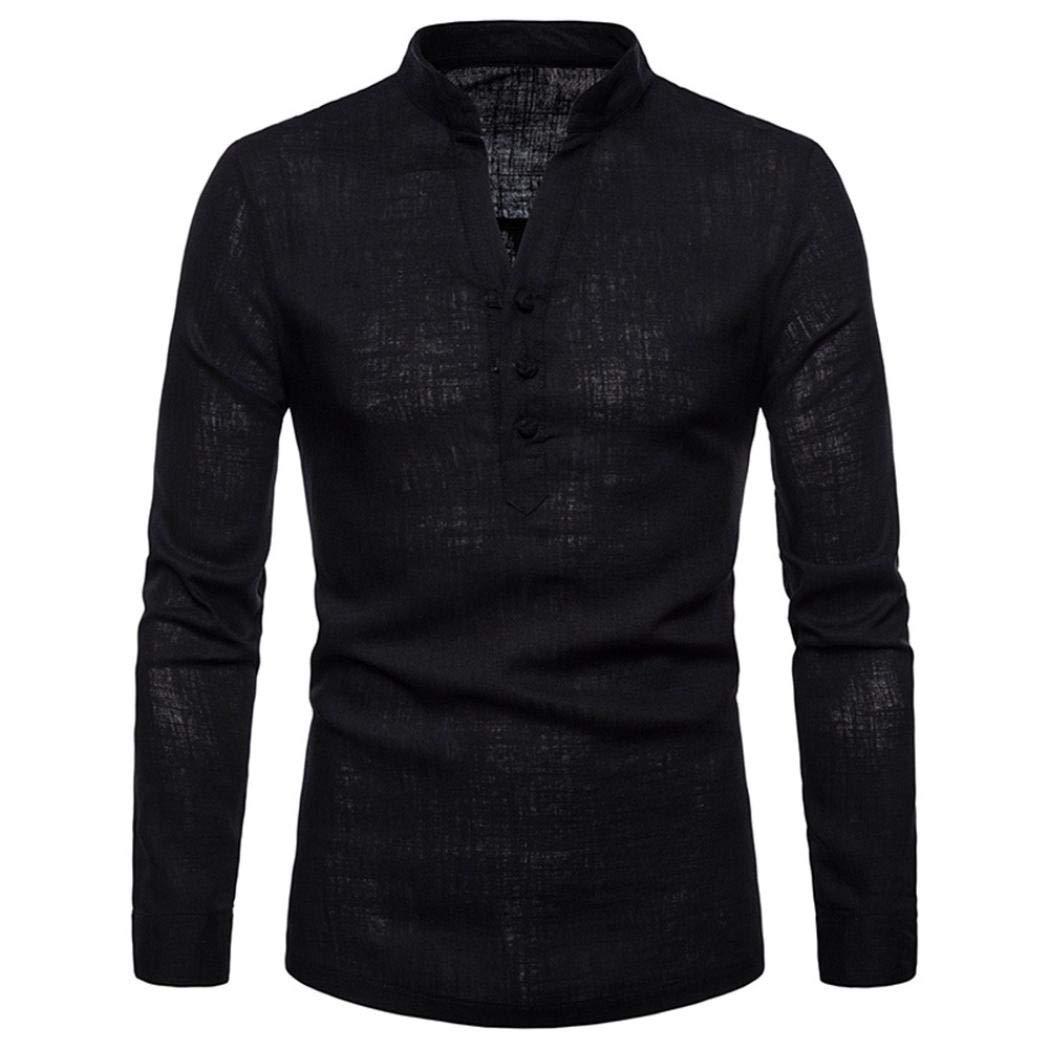 Yvelands Liquidación Camisa de Manga Larga de Lino de Lino de ...