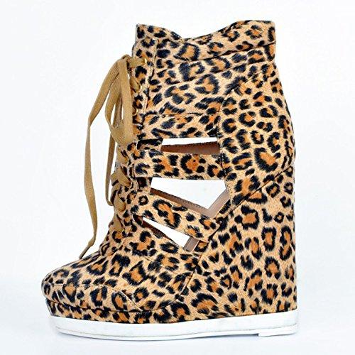 geschlossene Pumpen Schuhe Kolnoo 13cm Faschion Absatz Damen lace Partei Wadge up Zehe Gerichts wx7vT0qxg