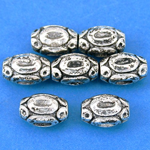 15g Bali Barrel Beads Antq Silver Plated 11mm Approx 7 -
