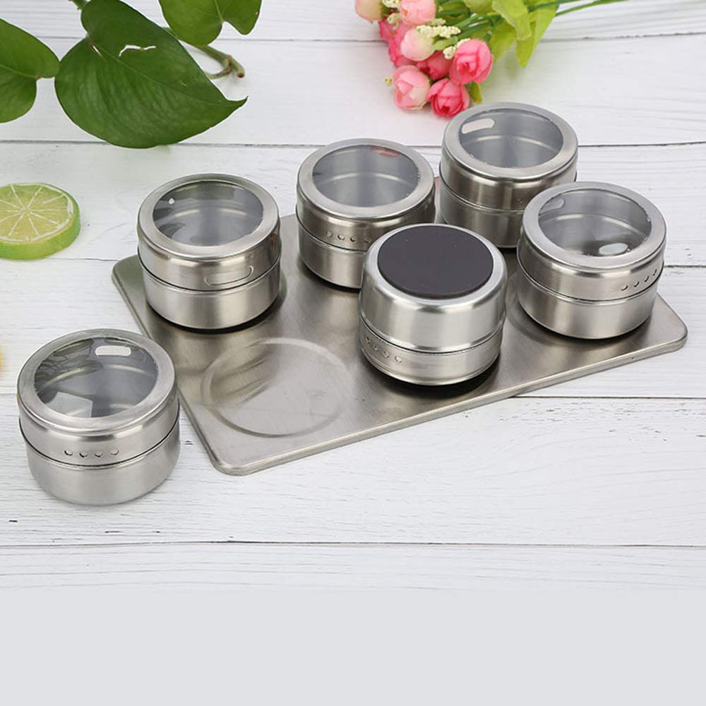 Xeminor 1PCS Stainless Steel Spice Jar Multi-function Spice Tin Seasoning Tank Kitchen Supplies for Salt Pepper Herbs Storage Silver by Xeminor (Image #5)