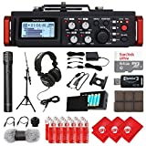 TASCAM 6-Track Linear PCM Digital Multitrack Audio Recorder/Mixer for DSLR Camera, Condenser Microphone, 64GB Micro SD Card, Headphones, 3 pcs Microfiber Cloth and Accessory Bundle (DR-701D)