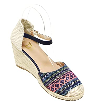 97b9fc6ea03 Betani Chelsea-1 Women s Round Toe D Orsay Braided Espadrille Wedge Shoes