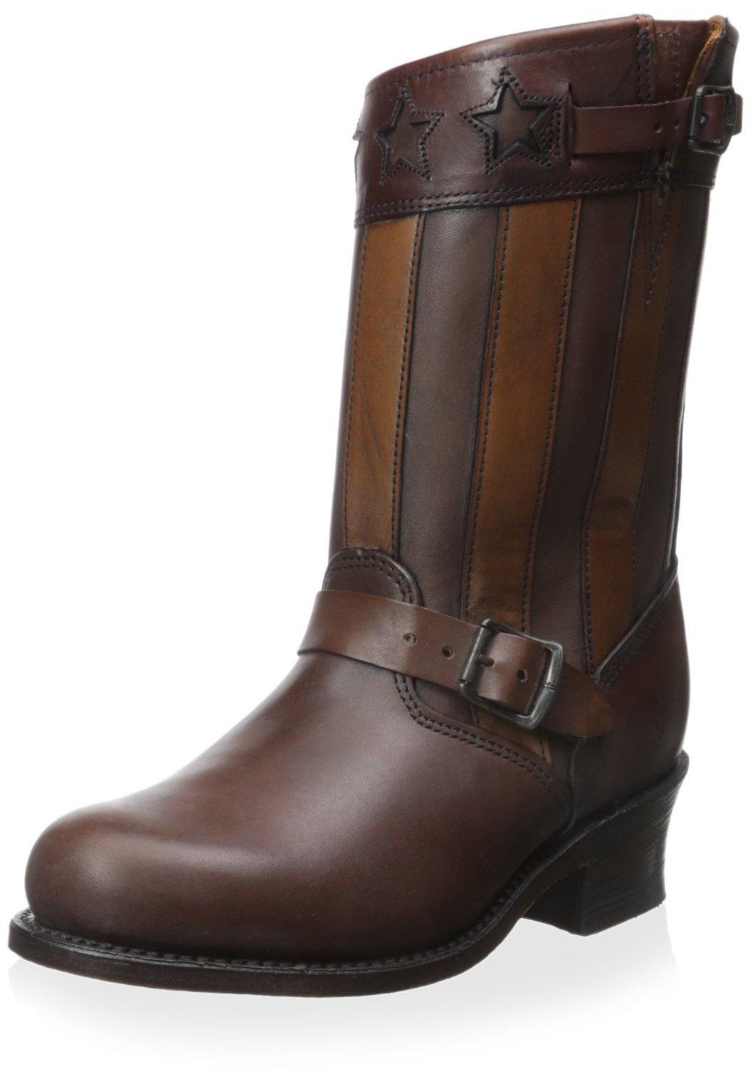 FRYE Women's Engineer Americana Short Boot, Dark Brown, 6.5 M US by FRYE