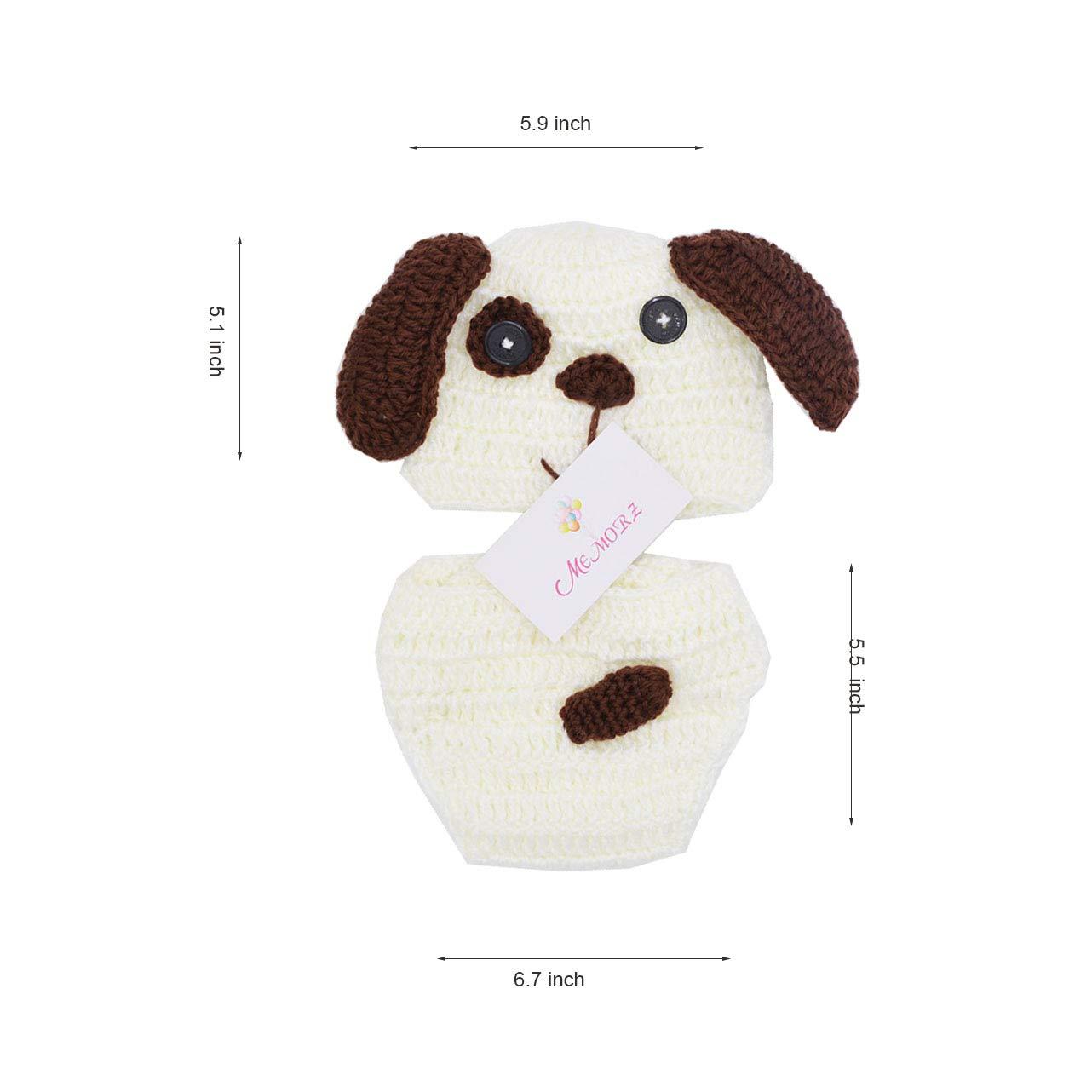 Memorz Newborn Infant Girl Boy Crochet Knit Costume Dog Photo Outfits Clothes Cap Prop (Beige Dog)