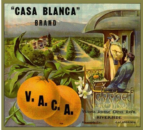 A SLICE IN TIME Riverside Casa Blanca Orange Citrus Fruit Crate Box Label Art Print (Art Label Box)