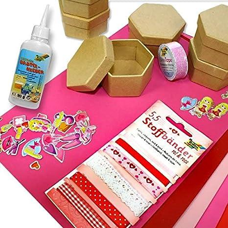Seis de esquina Cajas Juego de manualidades, 6 cajas Plus goma musgosa, pegatinas, bandas, purpurina cinta Pegamento,....: Amazon.es: Juguetes y juegos