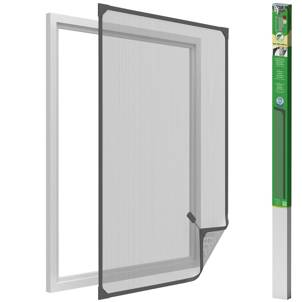 easy life Mosquito net for windows with magnetic frame in PVC easy to install - No need to drill and cut-out individually, Colour:Anthracite, Size:100 x 120 cm