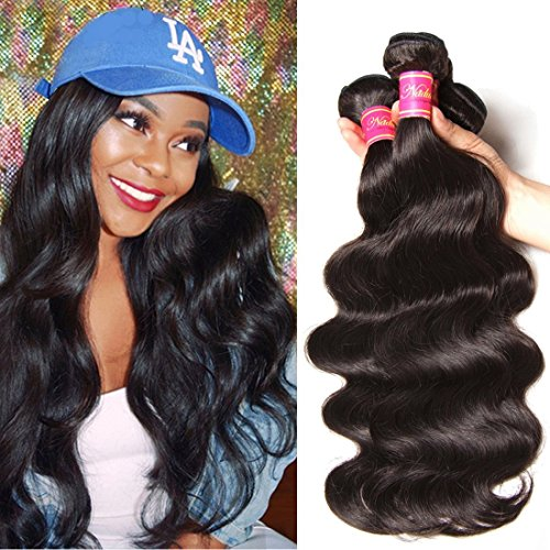 Nadula Hair 7a Best Quality Brazilian Body Wave Virgin Hair Extensions 3 Bundles 18 20 22 Brazilian Wavy Unprocessed Human Hair Weave Natural Color by Nadula