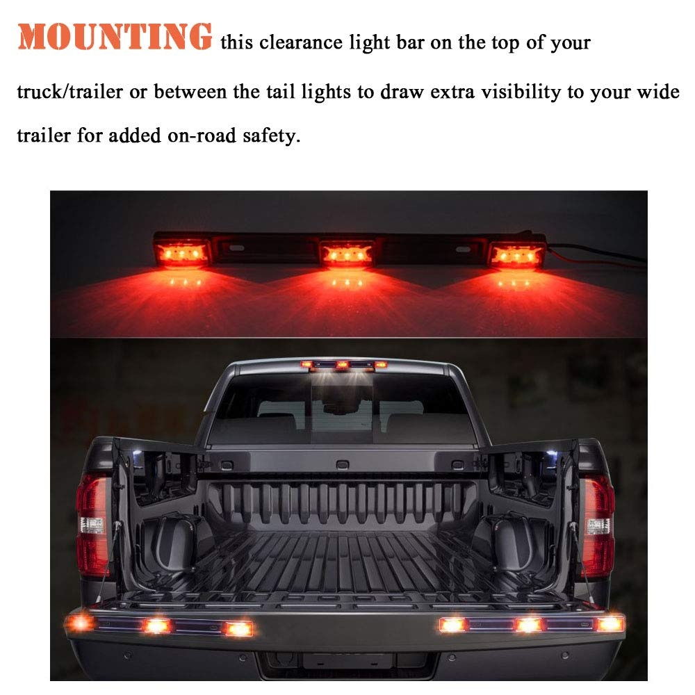 DOT Certified, IP67 Red Trailer Light Bar 3 Light 9 LED Clearance ID Bar Marker Tail Light for Trailer Truck Boat