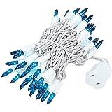 Novelty Lights 50 Light Teal Christmas Mini Light Set, White Wire, 11' Long