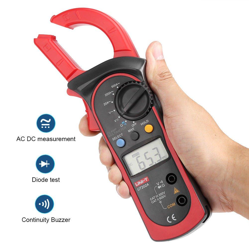 Signstek Uni-t UT202A Auto/Manual Range Digital Handheld Clamp Meter Multimeter Test Tool Digital Handheld Clamp Ohm Tester, AC/DC Voltmeter, AC Current by Signstek (Image #6)