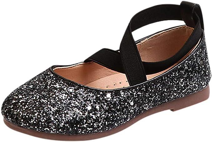 YanHoo Zapatos para niñas pequeñas Lentejuelas Infantiles Banda elástica Zapatos Solos Zapatos Princesa Zapatos de Baile Niños Bebé Infant Toddler ...
