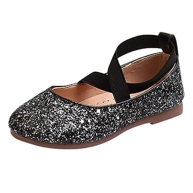 YanHoo Zapatos para niñas pequeñas Lentejuelas Infantiles Banda elástica Zapatos Solos Zapatos Princesa Zapatos de Baile Niños Bebé Infant Toddler Girls ...