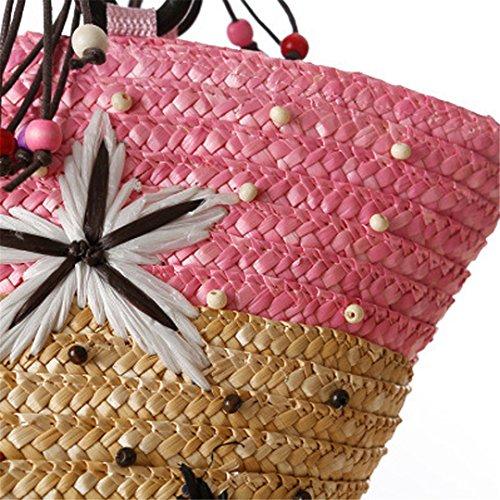rotin à Bag Plage Sacs Supérieure Paille d'été 100 de de Star Sea Tote Tricotés Poignée KHUSIG Handmade Sacs Red Perles Main de Sacs qFAx4EFz