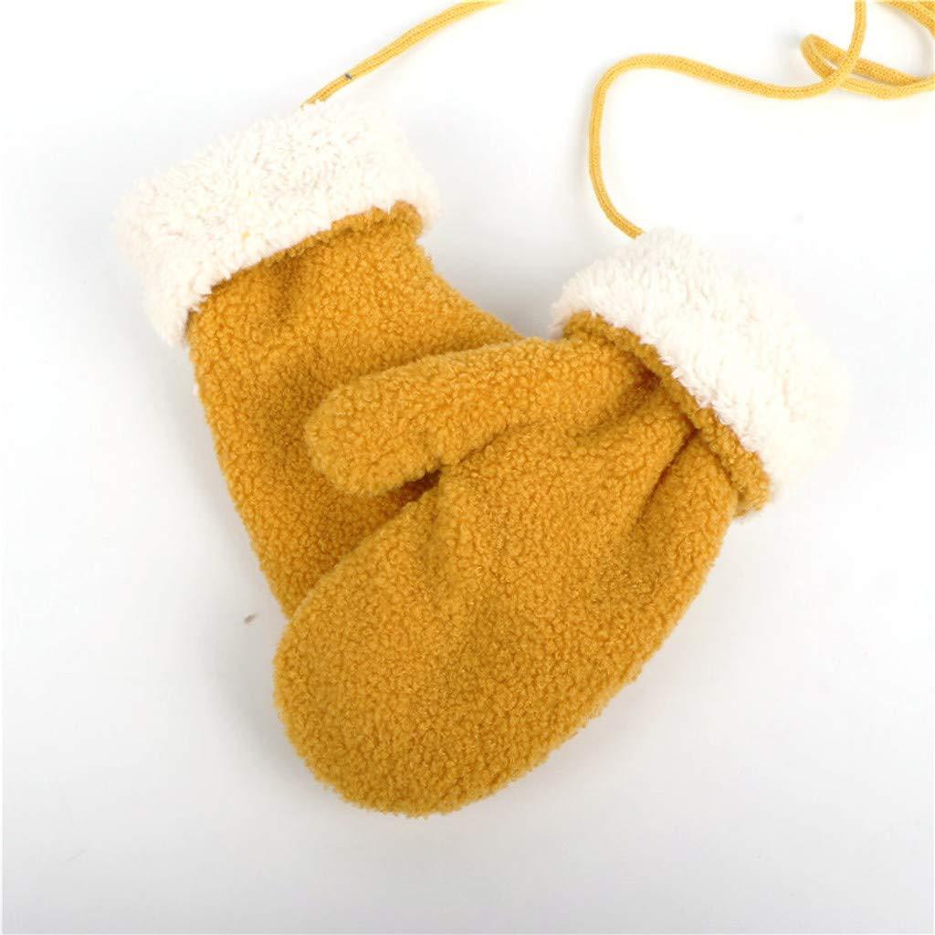 Bambin Moufles Hiver Chaud Gants Tricot/é Epais Magique Mitaines Tricot Mignon Avec Avec Corde Gloves Walabe Unisexe Enfants Filles Gar/çOns