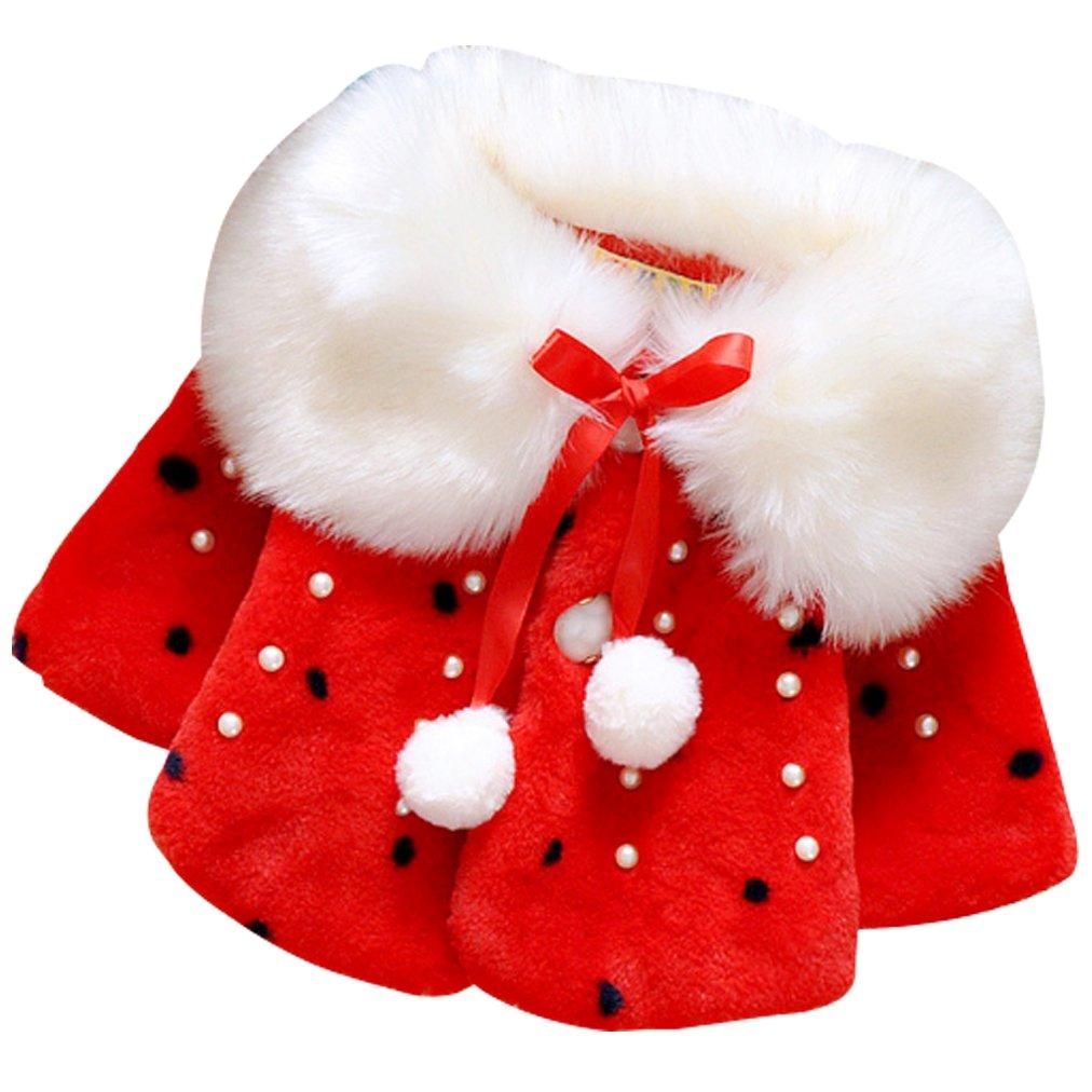 Amazon.com: Bebé Niñas Caliente Dulce Faux Fur Coat Forro ...