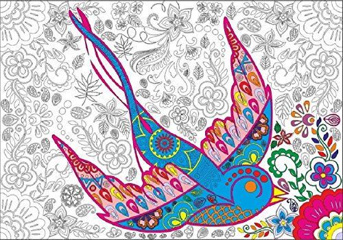 - Large Coloring Paper Tablecloth Or Poster | Pretty Bird Bohemian | Thick & Leak-Proof | Comes With 12 Color Pencil Set | Great For Your Crayons & Markers | Fun At A Party Or Any Time | Decoration