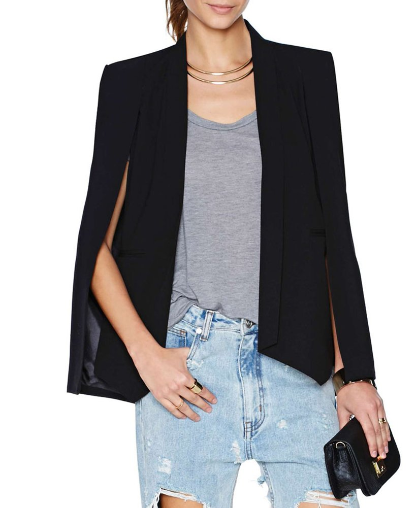 My Wonderful World Women's Open Front Blazer Coat for Fall Autumn Medium Black