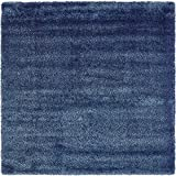 Unique Loom Luxe Solo Collection Navy Blue 8 ft Square Area Rug (8' x 8')
