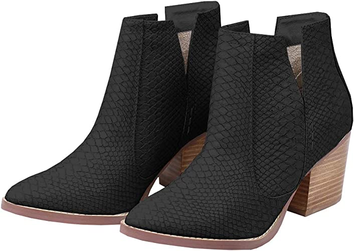 Ermonn Womens Leather Ankle Boots Pointed Toe Stacked Low Heel Side Zipper Western Shoes