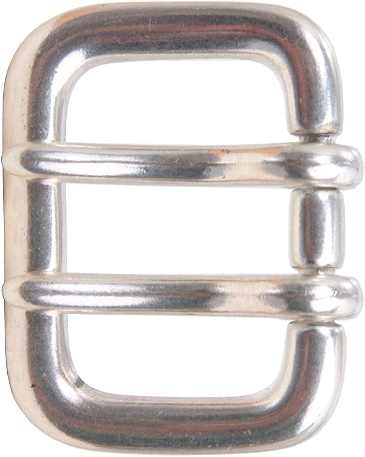 MONIQUE Women Sterling Silver Finish Double Prong 1.5 Belt Replacement Buckle