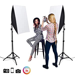 "1600W Softbox Photography Lighting, Heorryn Continuous Softbox Lighting Kit 20""X28"" Professional Photo Studio Equipment with 2M Adjustable Stand and 5500K LED Bulb for Video Filming Portraits (2 Pack)"