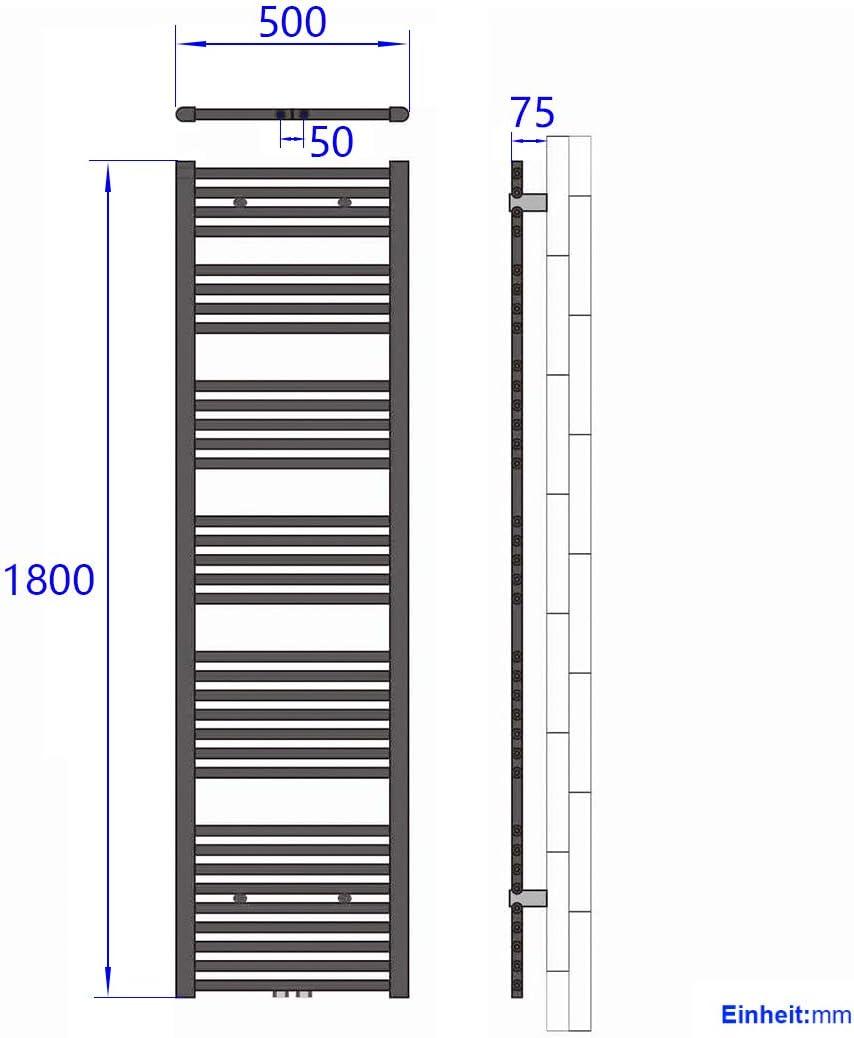 539 Watt Leistung Handtuchtrockner Heizk/örper Bad Mittelanschluss Wei/ß Horizontal Rohrdurchmesser: 22mm Badheizk/örper Handtuchw/ärmer Heizk/örper 100 x 50 cm