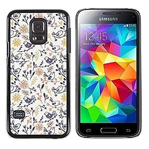 TopCaseStore / la caja del caucho duro de la cubierta de protección de la piel - Porcelain Blue Yellow Wallpaper Pattern - Samsung Galaxy S5 Mini, SM-G800, NOT S5 REGULAR!